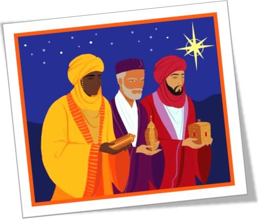 os três reis magos e seus presentes ouro, incenso e mirra