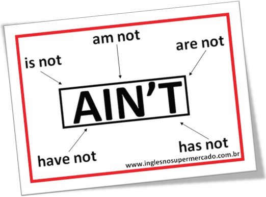 usos de ain't, am not, is not, are not, has not, have not, preconceito linguístico