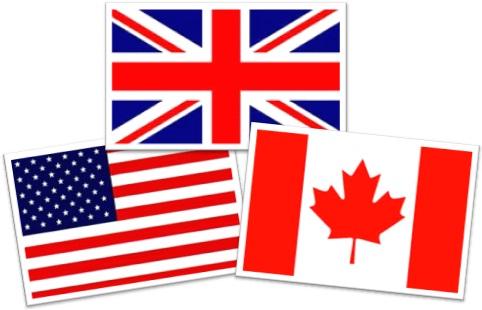 diferenças entre inglês britânico e americano, bandeiras do reino unido, estados unidos da américa e canadá