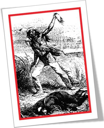 índio americano escalpelando soldado inglês europeu