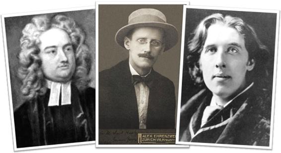 escritores irlandeses jonathan swift, james joyce e oscar wilde