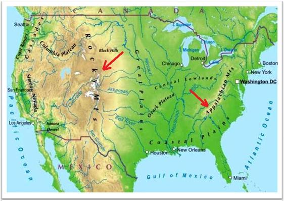mapa dos estados unidos, montanhas rochosas, montes apalaches, rio mississipi