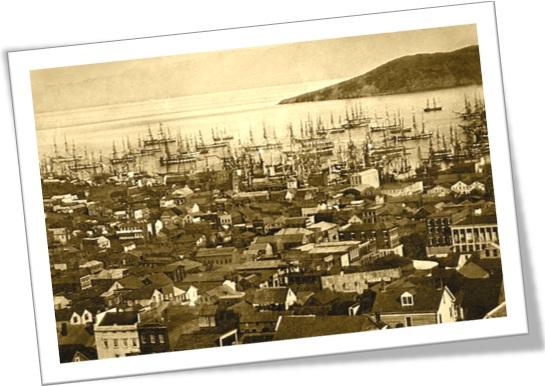 Porto de San Francisco (Baía de Yerba Buena), em 1850 ou 1851, com a ilha de Yerba Buena Island ao fundo