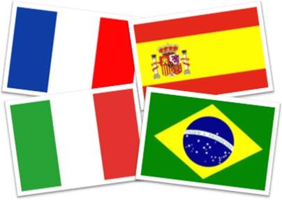 bandeiras da frança, da espanha, da itália e do brasil