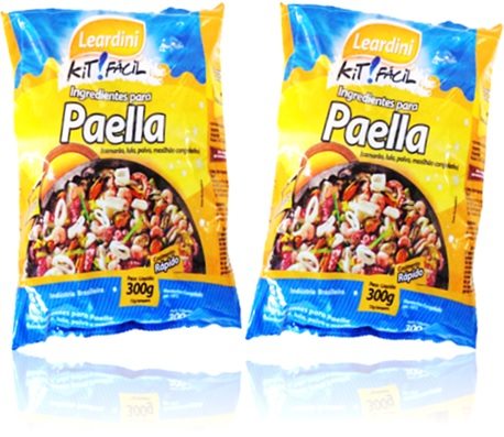 leardini kit fácil ingredientes para paella, camarão, polvo, lula, marisco