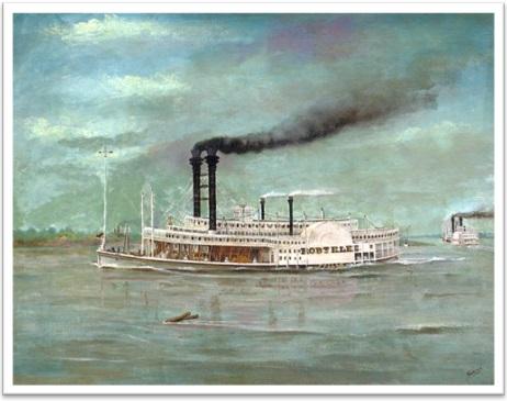 barco a vapor, steamboat by robert e. lee, pintura a óleo