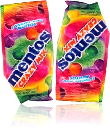 balas e goma de mascar mentos crazy mix sabor frutas
