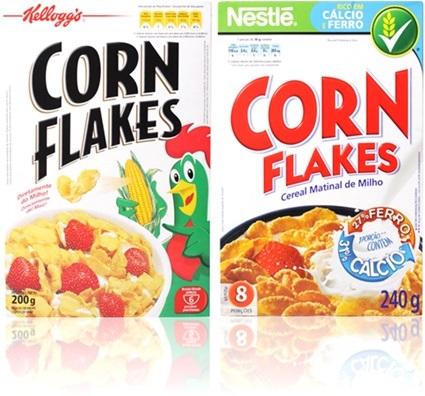 caixa de cereal corn flakes kelloggs e nestlé, floco de milho