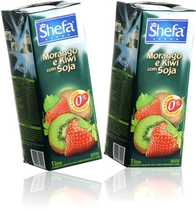 caixa de suco shefa com soja sabor frutas polpa de morango e kiwi