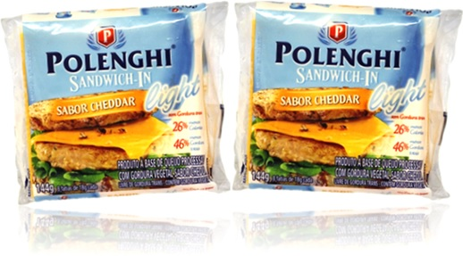 polenghi sandwich-in queijo cheddar light pão sanduíche tomate alface cebola