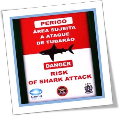 danger risk of shark attack, placa de aviso de ataque de tubarão em praia de boa viagem