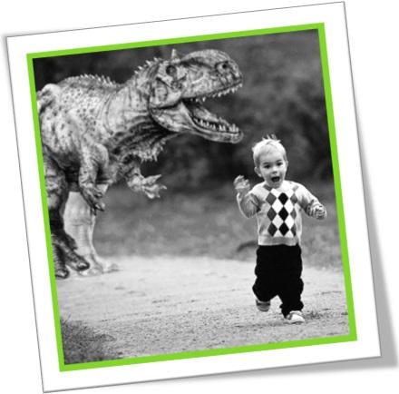 run for your life, pôr sebo nas canelas, criança fugindo de dinossauro