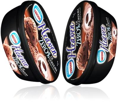 potes de sorvete nestlé heaven sabor chocolate zero calorias
