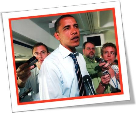 repórteres entrevistando presidente barack obama em avião