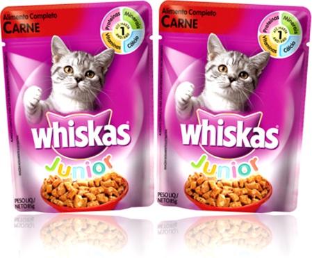ração para filhote de gato, alimento completo carne whiskas junior