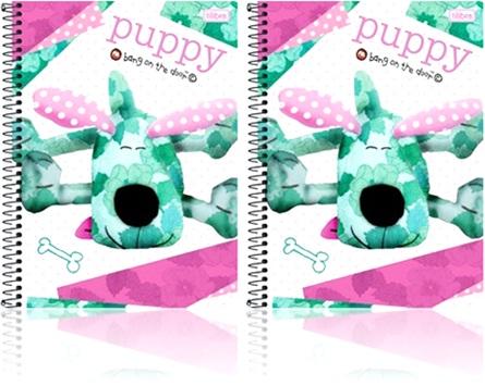caderno com espiral universitário tilibra puppy, cachorro de pano patchwork