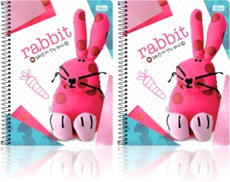 caderno universitário espiral tilibra rabbit, coelho, cenoura, coelho de pano