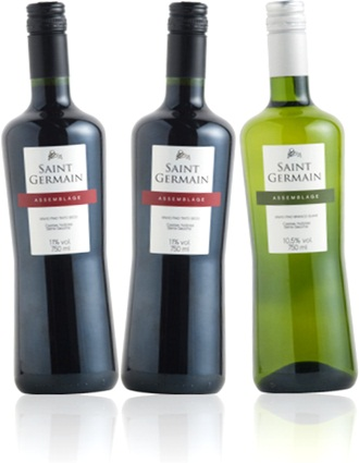 vinhos tinto e branco saint germain assemblage, vinícola aurora, brasil, uvas roxas e verdes
