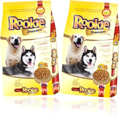 ração, alimento para cães rookie sabores carne e fígado, husky siberiano, labrador
