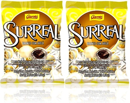 bombom garoto surreal chocolate branco com avelã