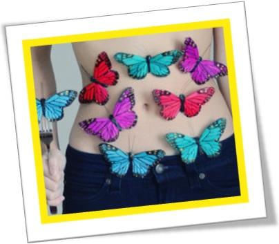 have butterflies in one's stomach, estar nervoso, ter borboletas na barriga