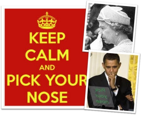 keep calm and pick your nose, rainha elizabeth II e presidente barack obama tirando meleca