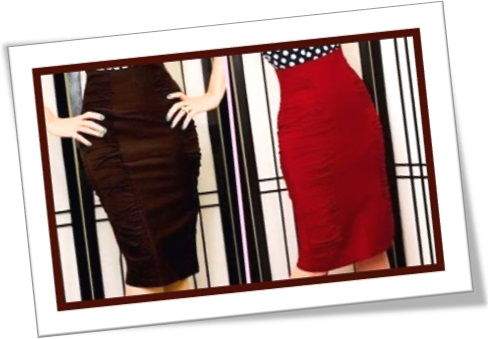 saias marrom e vermelha, moda, vestuário, costura