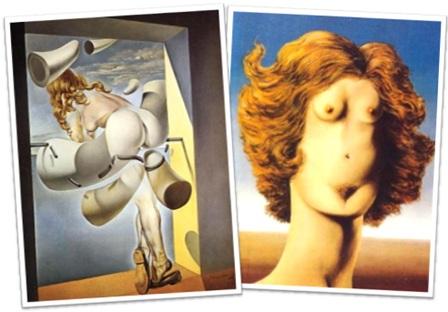 surrealismo, jovem virgem auto-sodomizada pela sua própria castidade de salvador dali e  a violação de rené magritte