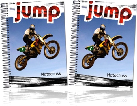 caderno universitário jump motocross foroni, colégio, escola, estudante