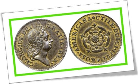 moeda georgius dei gratia rex rosa americana utile dulci 1722
