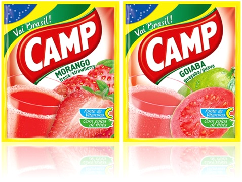 refrescos em pó camp sabores morango e goiaba com polpa de fruta e vitamina c