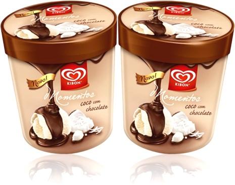 sobremesa, sorvete kibon momentos sabor coco com chocolate