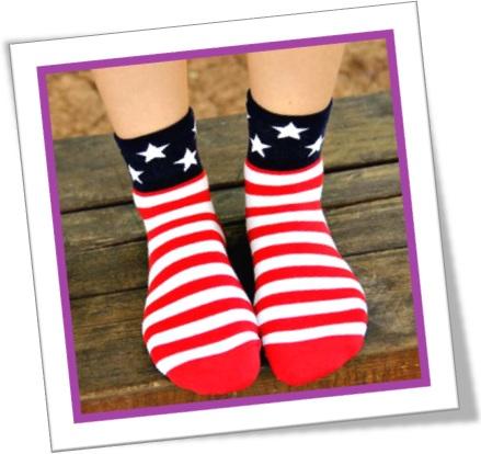 all-cotton socks, meias puro algodão, bandeira norte-americana