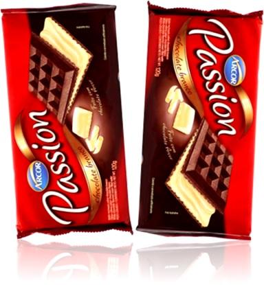arcor biscoito wafer triunfo passion chocolate, lanche, sobremesa