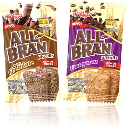 biscoitos all bran rico em fibras sabores chocolate e uvas-passas