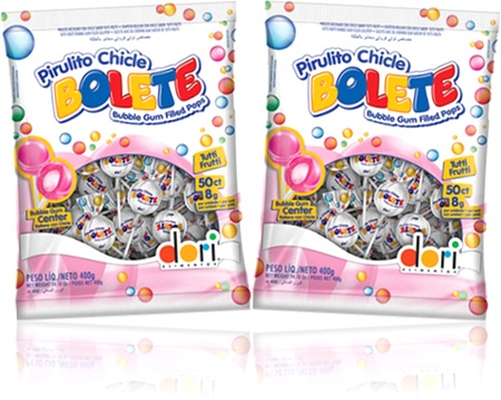 pirulito chicle bolete bubble gum filled pops tutti-frutti