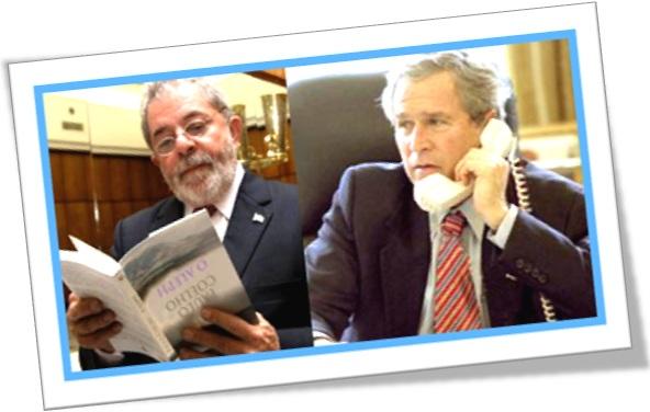 foto montagem, presidentes lula lendo livro de cabeça para baixa, bush atendendo telefone de ponta cabeça