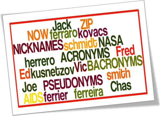 inglês nicknames pseudonyms acronyms bacronyms