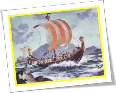 vikings ships, barcos, navios, vela, mar, enseada, viquingues