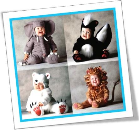 costume party bebês fantasiados de elefante, gambá, urso polar e leão