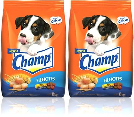 alimento para filhotes de cachorro champ cálcio frango trigo milho