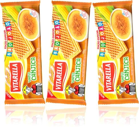 biscoito recheado vitarella wafer sabor canjica edição são joão