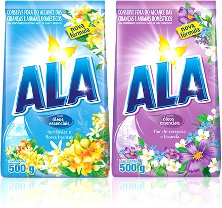 sabão em pó ala perfume hortênsias e flores brancas e flor de cerejeira e lavanda