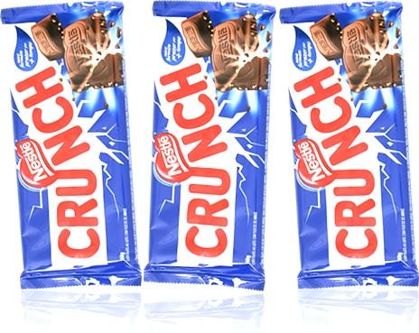 barra de chocolate ao leite crunch nestlé, crocante com flocos de arroz, alimento