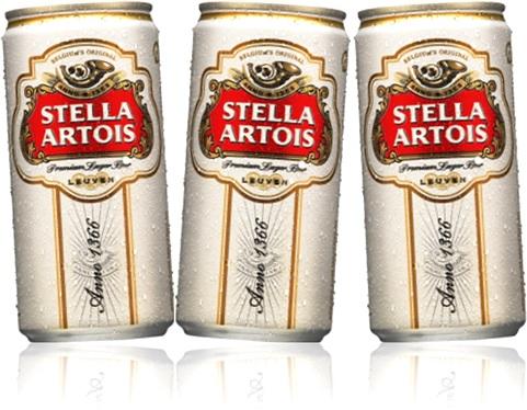 latas de cerveja belga stella artois, bebida alcoólica, cans of beer