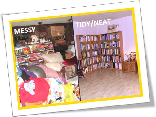 messy versus tidy living room