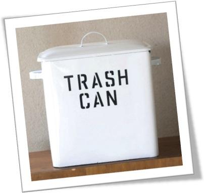 trash can, lata de lixo branca, lixeira, metal, limpeza