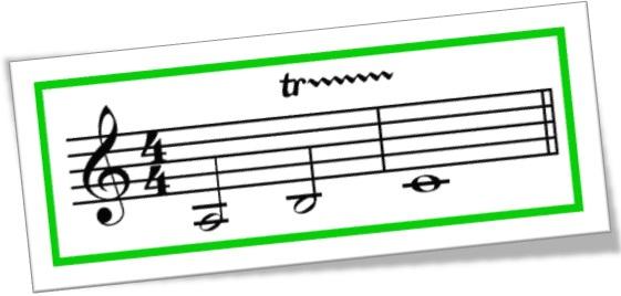 trill, trino, trilo, trinado em partitura, música, notas musicais