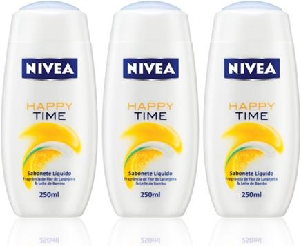 sabonete líquido nivea happy time banho perfume higiene pessoal