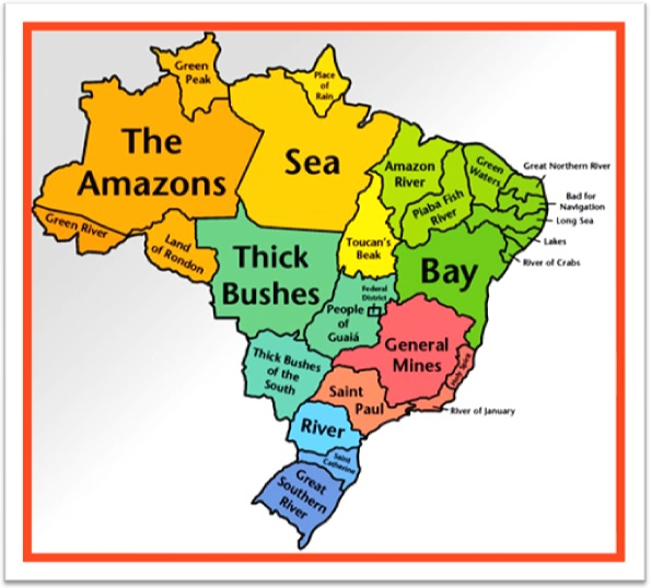 Brazilian Map in Brazilian English, nome dos estados do brasil em inglês